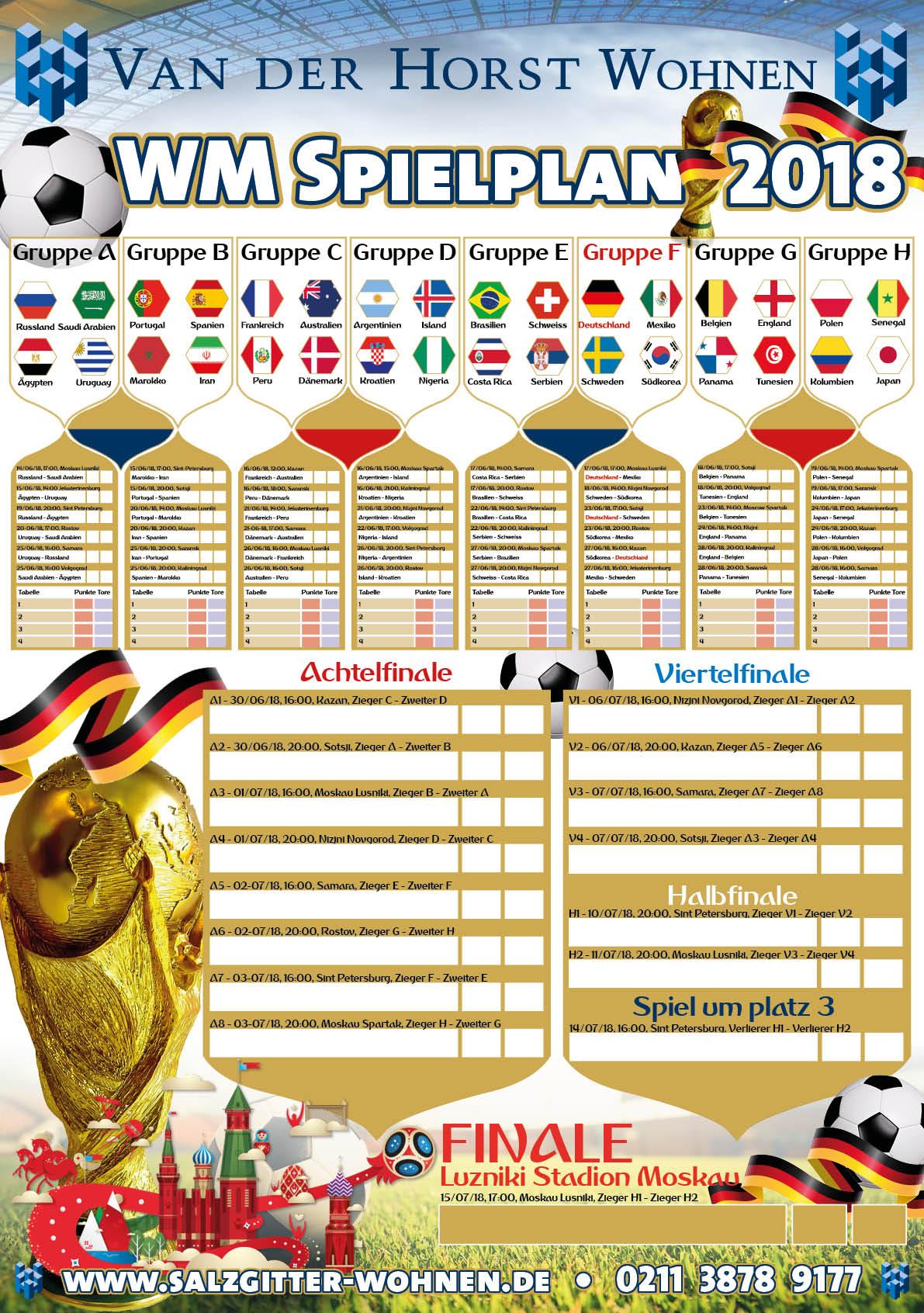 WK 2018 Spielplan